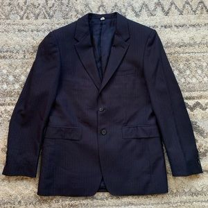 Burberry Navy Blue Pinstriped Blazer 48S